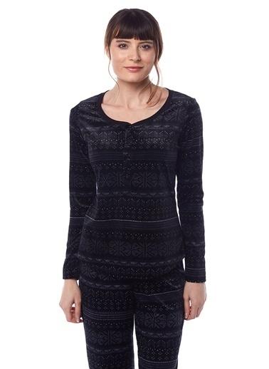 Pamuk & Pamuk Kadın Desenli Kadife Pijama Takımı Siyah